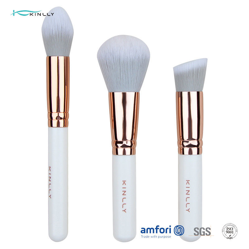 Soft 3pcs Aluminium Ferrule White Makeup Brush Set